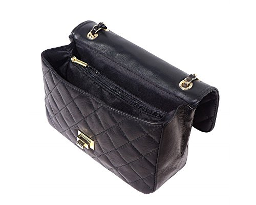 Italian Leather Quilted Designer Inspired Handbag with Gold Trims (Navy)
