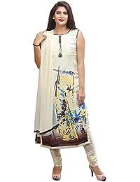 Manmandir Cream Colour Printed Cotton Casualwear Readymade SalwarKameez