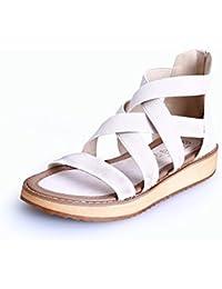 Angrousobiu Señor Roman señoras sandalias Bizcocho hembra Flat-Bottomed gruesos zapatos de cuero de un gran número de estudiantes zapatos de mujer,43,m blanco