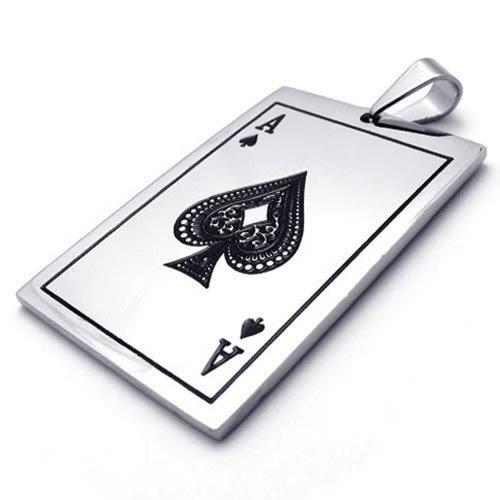 KONOV Schmuck Edelstahl Poker Karte Pik A Anhänger mit 50cm Kette, Halskette für Herren Damen, Schwarz Silber - 3