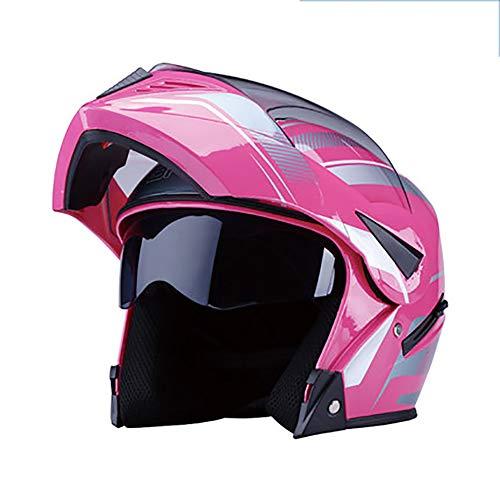 YXDDG Motorrad-modulare integralhelm Flip up dual Visier Sun Shield schutzhelm,Hochglanz schwarz + 2 visiere-J 54-60cm (Dual-visier Modulare Helm)