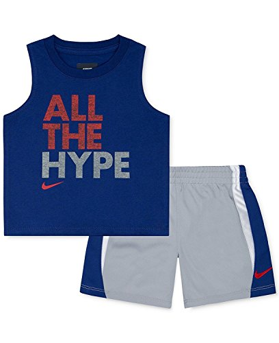 Nike Baby Jungen 2-teiliges ?rmelloses T-Shirt und Shorts Set (12 Monate, hellgrau meliert)