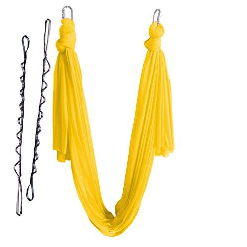 Wellsem (5m / set) elastica pilates yoga yoga swing aerea amaca con moschettone e margherita catena (giallo)