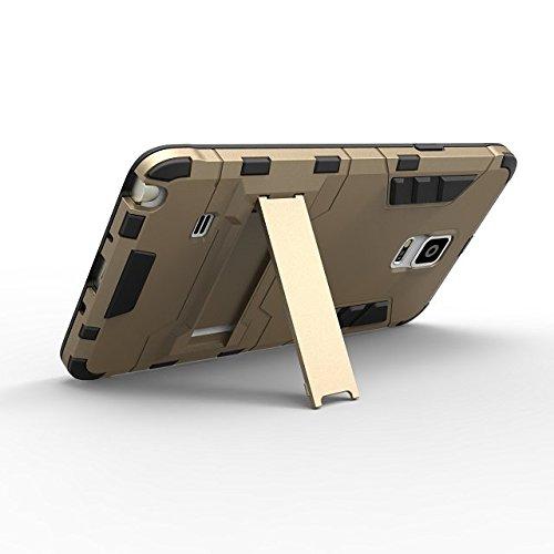 Note 4 cas Lantier [de la peau de maturité de son style] 2 en 1 combo robuste à double couche [cas grave] effets de robots de glissement hybride amovibles de couverture avancée armure de silicone dur  Note 4 argent