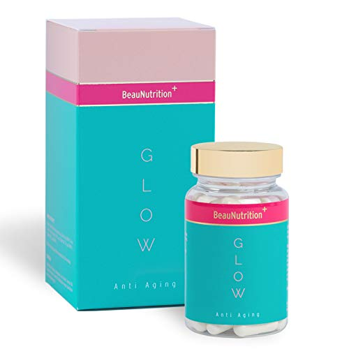 BeauNutrition - Glow Anti Aging Kapseln - hochdosiert Hyaluronsäure, Kollagen, Q10, Acai, Vitamin B Komplex, Zink - Anti-aging-geschenk