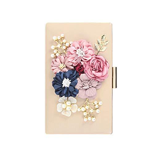 Babysbreath17 Damen Velvet Clutch Blumen Perlen Abendtaschen Frauen Velour-Partei-Hochzeit Handbag Braut Luxus Mini Tagesgeld