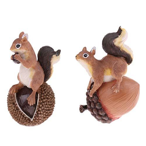 FLAMEER Résine à La Main 2 écureuil Ensemble Statue Maison Jardin Ornements Animal Modèle