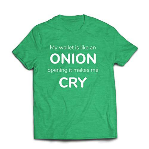 lepni.me Männer T-Shirt Meine Brieftasche ist wie eine Zwiebel, Kein Geld Lustiger Job, Büro-Humor (Medium Heidekrautgrün Mehrfarben)