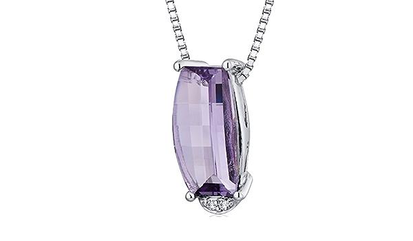 Sterlingsilber Rhodiniert Smaragd Amethyst /& Diamant Rechteckig Anhänger