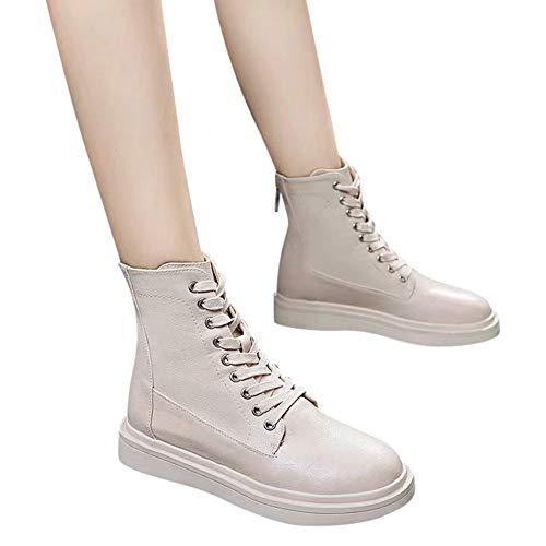 TianWlio Stiefel Frauen Herbst Winter Schuhe Stiefeletten Boots Lederstiefel Schnürstiefel mit Reißverschluss Wild Flat-with Single Shoes Beige 38