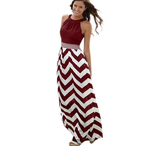 VJGOAL Kleider Damen Sommer Lang Elegant Große Größen Ärmellos Nähen Böhmen Streifen Maxi Dresses for Women (Junge 2019 Halloween-kostüme 2-jähriger)