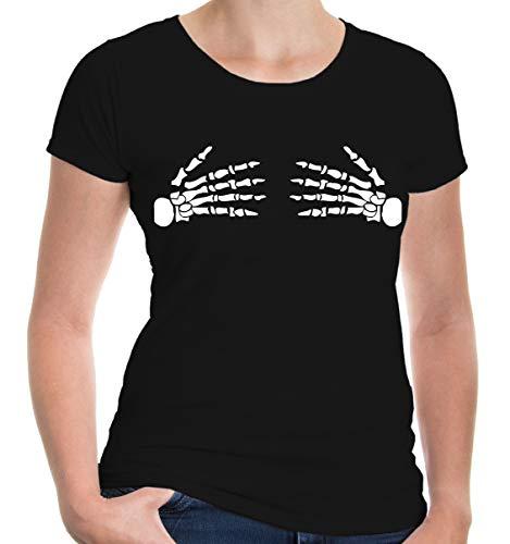 zarm Girlie T-Shirt bedruckt Skelett Hände | Anatomie Halloween Karneval | M black-white Schwarz ()