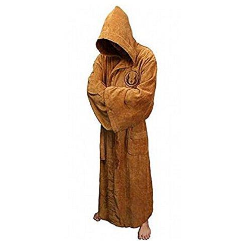 CVlife Star Wars SWTOR Krieg der Sterne Jedi Fleece Bademantel Robe Morgenmantel (braun)+ mini Speaker kostenlos Geschenk (Herren-robe Fleece)