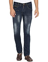 Flying Port Men's Cotton Lycra Black Mid Rise Slim Fit Low Price Jeans