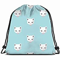 DIMAA cute cat animals wildlife animal Drawstring Backpack Gym Sack Lightweight Bag Water Resistant Gym Backpack for Women&Men for Sports,Travelling,Hiking,Camping,Shopping Yoga
