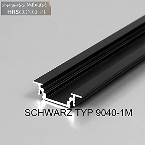 LED Alu Profil Leiste für LED Streifen / SCHWARZ TYP 9040 1M OPAL / HELITEC Aluminium Abdeckung Profil Streifen Schiene für LED-Strip Streifen Band
