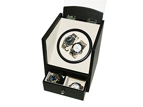 Uhrenbeweger (1Motor / für 2Uhren), Schwarzes PU-Leder