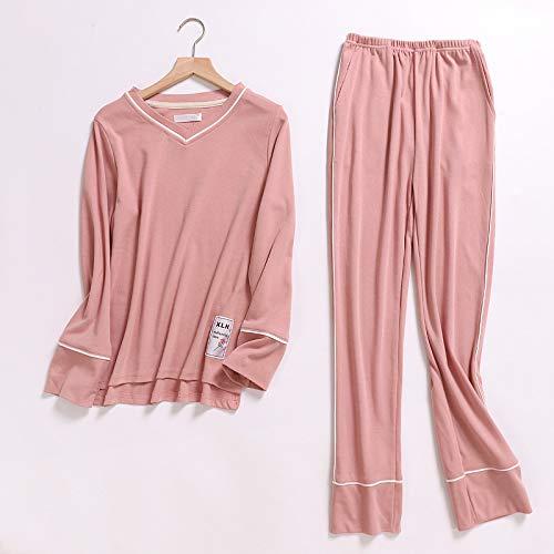 HAOLIEQUAN Frauen Pyjamas 2-Teiliges Sets Reine Farbe Rosa Stricken BaumwolleLangarmKorea WeiblicheNachtwäsche Pyjamas Damen Winter Lounge Wear, Pink, L - Stricken Lounge-set