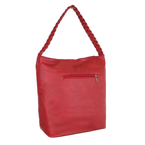 iTal-dEsiGn Damentasche Mittelgroße Shopper Tragetasche Schultertasche Kunstleder TA-F3551 Rot