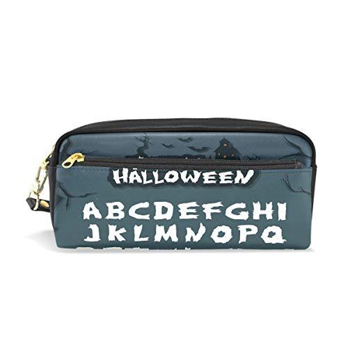 Federmäppchen mit Reißverschluss, große Make-up-Tasche, Halloween-Charaktere und Element-Bleistifttasche für Jungen und Mädchen, Schulbedarf