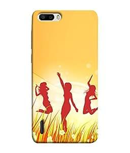 PrintVisa Designer Back Case Cover for Huawei Honor 6 Plus (Dancing Girls In Happy Moments Design)