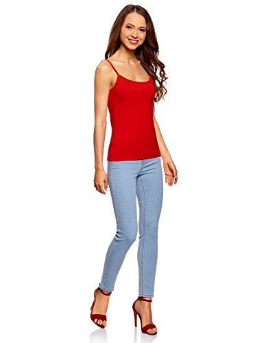 oodji Ultra Damen Tagless Jersey-Top mit Spaghettiträgern Rot (4500N)