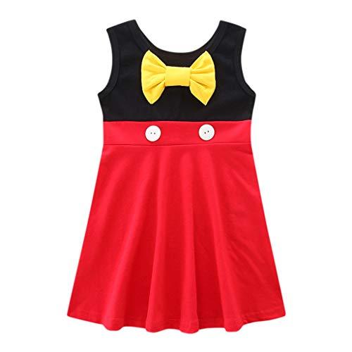 LEXUPE Kinder Kinder Mädchen Prinzessin Belle Bowknot Geburtstag Kleider Kostüm Kleidung(Rot,90)