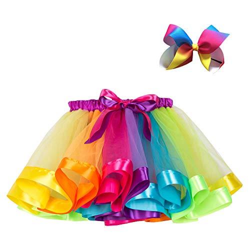 Kinder Mädchen Plissee Tutu Rock Tüllrock Regenbogen Ballettrock Tanzkleid Faltenrock Pettiskirt mit Schleife Kopfschmuck, Violett RT075, S ()