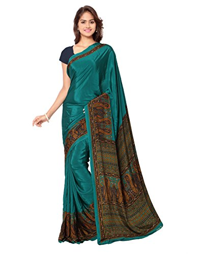 Ligalz Women's Crepe Saree With Blouse Piece (L0111301$P, Green, Free Size)