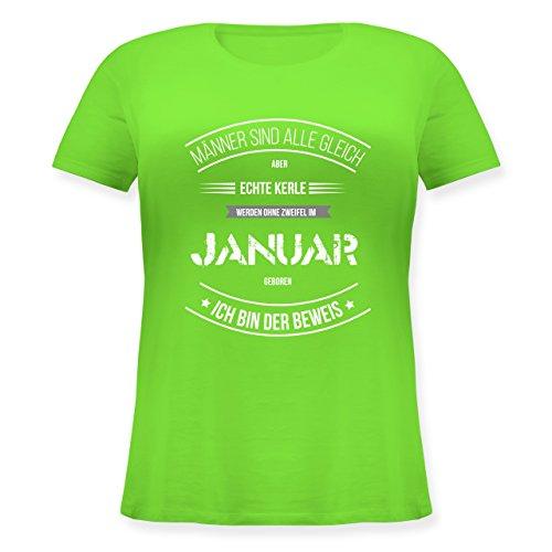 Shirtracer Geburtstag - Echte Kerle Werden IM Januar Geboren - Lockeres Damen-Shirt in Großen Größen mit Rundhalsausschnitt Hellgrün