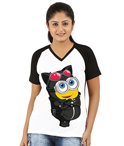 Fanideaz V Neck Cotton Girly Cute Minion Scenario Raglan T Shirt For Women_Black_M  available at amazon for Rs.499