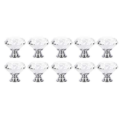 Racksoy 10x Deko. Zinklegierung Kristallglas Schubladenknöpfe Garderobe Ziehgriffe Möbelgriff 30mm Silber Transparent