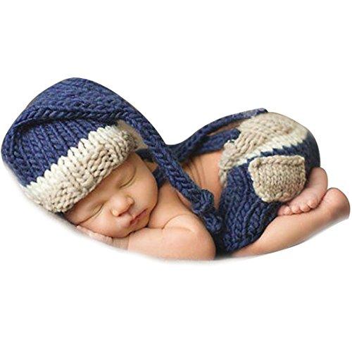 Blau Stricken Hut-set (YiZYiF Foto Fotografie Prop Jungen Kinder Baby Kostüm Nette Gentleman Stricken Handarbeit Sets 2tlg. Häkel Hut + Hose (Blau Trägerhose))