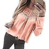 TTLOVE T-Shirt Damen Tops Knopfleiste Einfarbig Langarm Tee Shirt Plissee Basic Sexy Lose Casual Oberteile Hohl Spitze Elegante Hemd (Rosa,S)