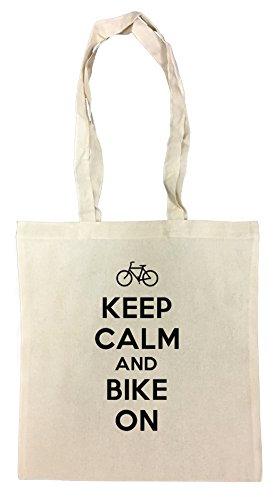 Keep Calm And Bike On Cotton Borsa Della Spesa Riutilizzabile Cotton Shopping Bag Reusable