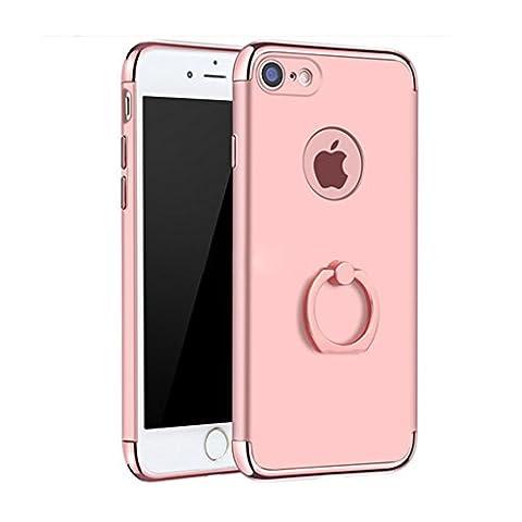 Coque iPhone 7 Plus, Yoowei Electroplate Plating 3 In 1 Hybrid Dur PC Étui avec 360 Degrés de Rotation Support de la Bague Housse de Protection Electro Placage Protecteur Bumper cover pour iPhone 7 Plus, Or Rose