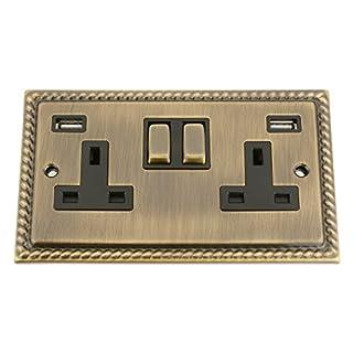 A5 Products ANTIQUE BRASS GEORGIAN USB Socket 2 Gang Black Insert Metal Rocker Switch (3100mA)
