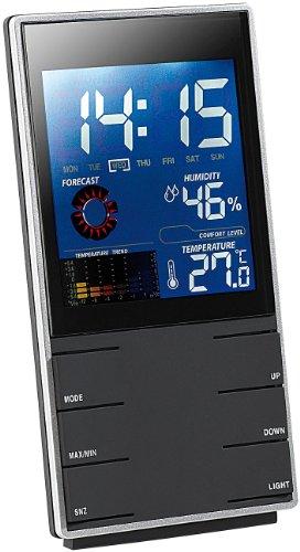 infactory Portable Design-Wetterstation mit Wettervorhersage & Wecker