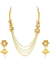 Sukkhi Pleasing 4 String Jalebi Gold Plated Alloy Long Haram Necklace Set For Women