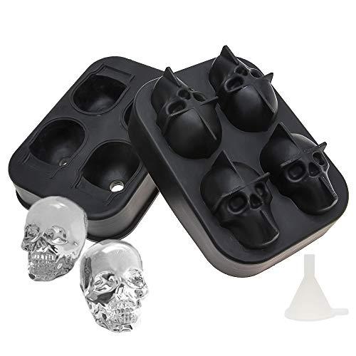 SENZEAL Silikon Totenkopf Eiswürfelform Form Eiswürfelbehälter mit Deckel Ice Cube Tray für Party Whisky,s und Bars Kinder Pudding Milch Saft (Party Ice Tray)