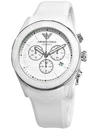 Emporio Armani AR1435 - Reloj cronógrafo de cuarzo para hombre, correa de goma color blanco (cronómetro)