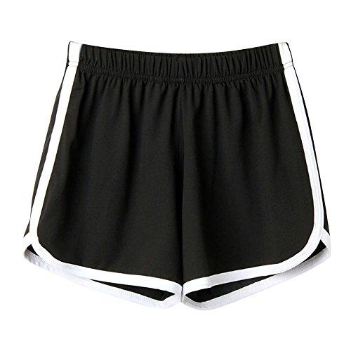 Trada Strandshorts, Mode Frauen Dame Sommer Sport Shorts Strand Kurze Hosen Lochjeans Sommershorts Damenhosen Freizeit Shorts Jeanshose Mini Hotpants Shorts (M, Schwarz)
