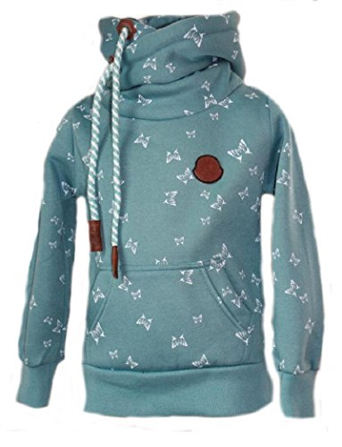 SQUARED & CUBED Mädchen Hoodie Kapuzenpullover Sweatshirt Schmetterling Türkis (110/116)