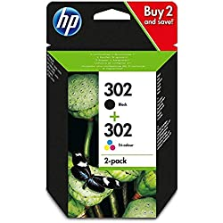 HP 302 X4D37AE pack de 2, cartouches d'encre Authentique, Noir et trois couleurs, imprimantes HP DeskJet, HP OfficeJet et HP ENVY (Cyan, Magenta et Jaune)