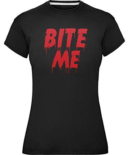 Damen Halloween Beißen Mich Kühn T-Shirt (Klein (Größe 38), Dunkles Schwarz)
