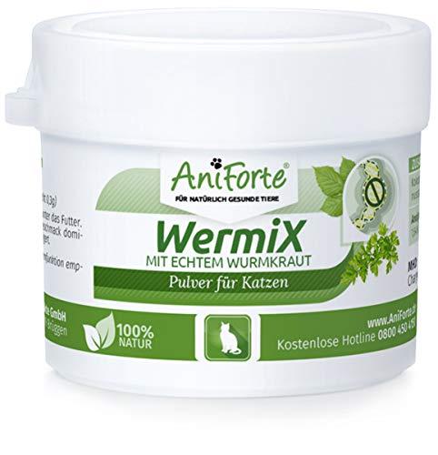 AniForte WermiX Pulver 25g für Katzen – Natürlicher Wurmfeind, Naturprodukt Bei und Nach Wurmbefall, Natur Pur, Ohne Chemie