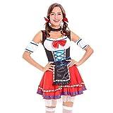 Damen Midi Trachtenkleid für Oktoberfest Stickerei Kleid Bluse chürze Kleider Brautjungfernkleid Petticoat, Red Splice Bandage Kostüme Dirndl Kleid Cosplay Kostüm(X-Large,11)