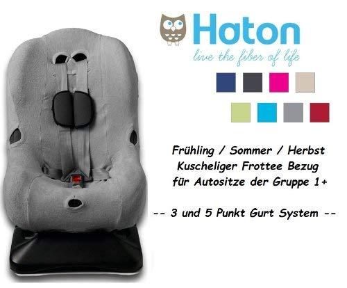 HATON -- FROTTEE Ersatzbezug -- Frühling / Sommer / Herbst -- 3 UND 5 Punkt Gurt System -- Universal Ersatz-Bezug für Autokindersitz Größe 1 z.B. für Maxi-Cosi Priori / SPS / XP, Römer King Plus / TS / Duo etc. -- GRAU --