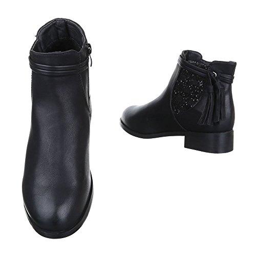 Chelsea Boots Damen Schuhe Chelsea Boots Blockabsatz Leicht Gefütterte Reißverschluss Ital-Design Stiefeletten Schwarz W131