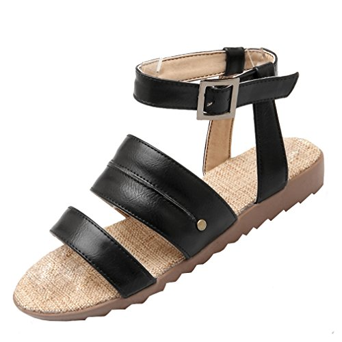 YE Damen Flache Knöchelriemchen Sandalen Offen mit Schnalle Bequem Schuhe Schwarz